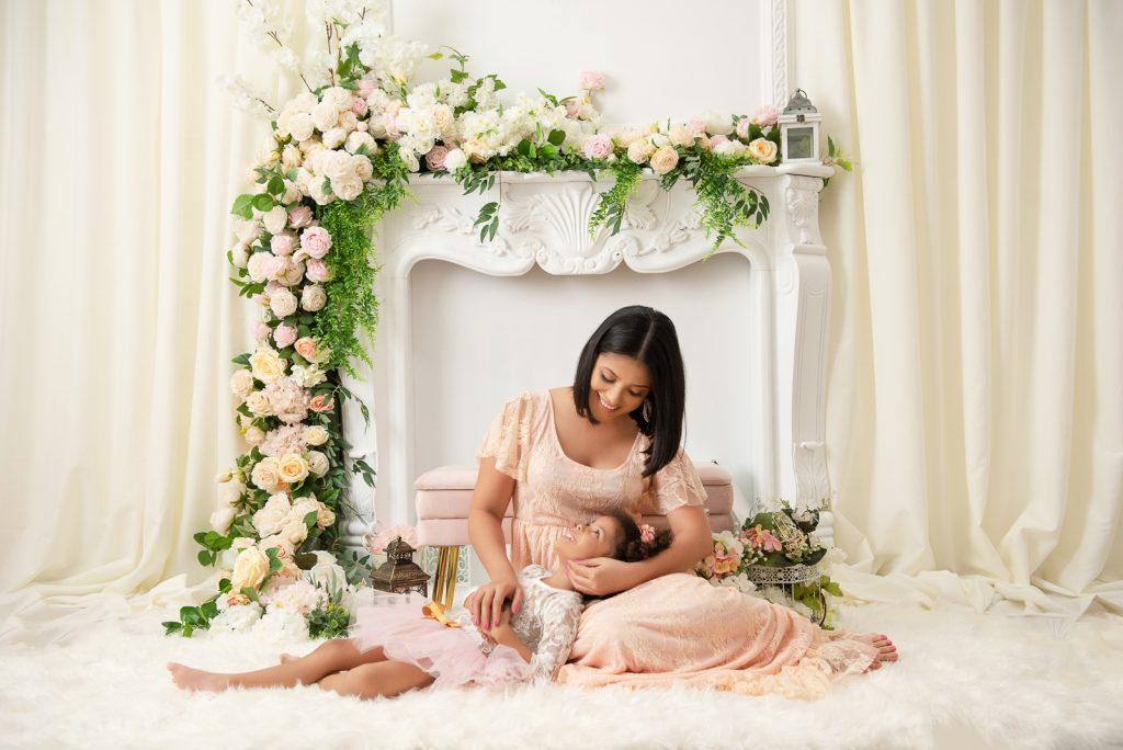 Set para sesión de fotos para el día de las madres en estudio fotográfico en Santo Domingo, República Dominicana